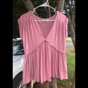 pink peplum style flowy top by copper key